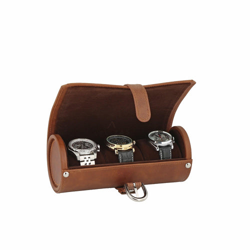 Cognac Brown Genuine Leather Watch Travel Roll 3 Watches Deep Brown Velvet Lining by Aevitas