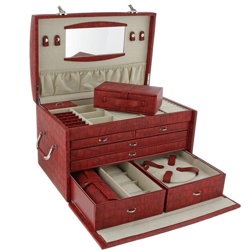 Davidt's Caiman Extra Large Jewellery Box in Red Croc Finish
