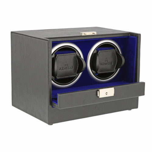 Black Genuine Leather Dual Watch Winder - Slide Away Door - Royal Blue Velvet Lining by Aevitas