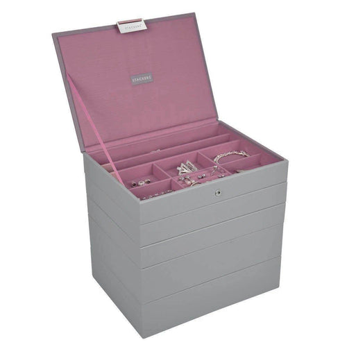 DOVE GREY WITH ANTIQUE PINK CLASSIC OR MEDIUM SIZE STACKERS SET OF 5 JEWELLERY BOX TRAYS