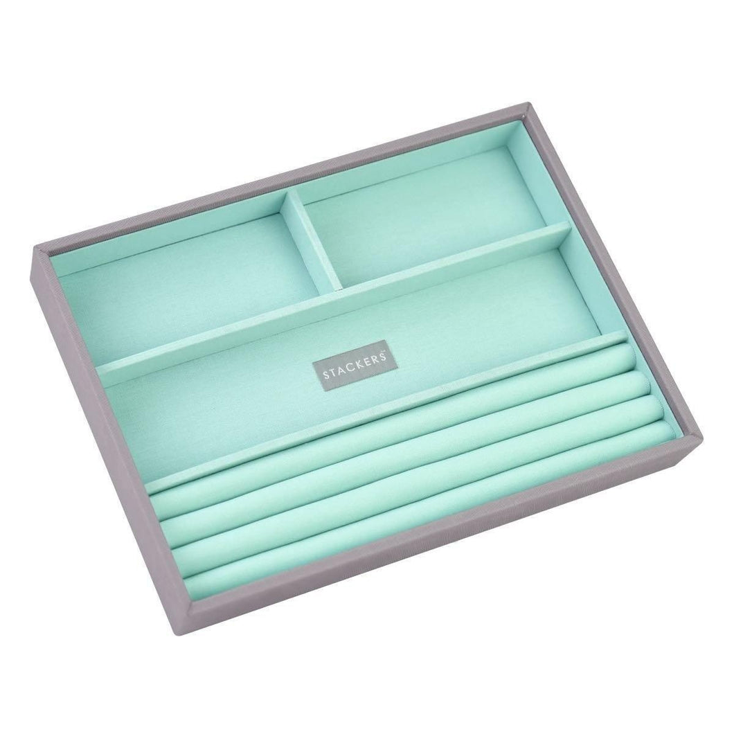Dove Grey with Mint Interior Classic Size Stackers Jewellery Box Rings layer Tray