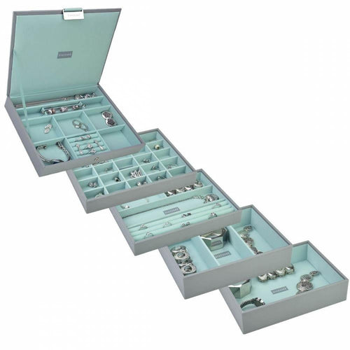 Dove Grey with Mint Green Classic or Medium Size Stackers Set of 5 Jewellery Box Trays