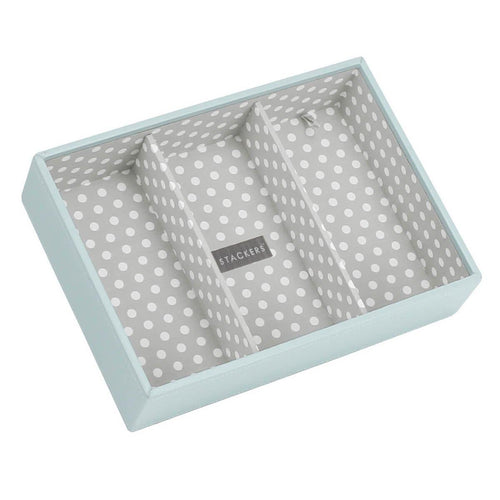 Duck Egg Blue with Grey Polka Interior Stackers Jewellery Box 3 Deep Sections