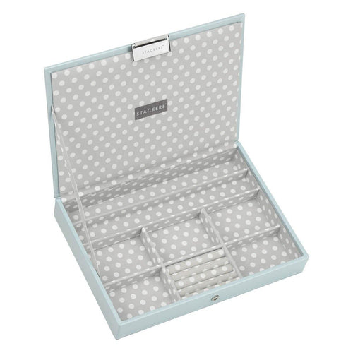 Duck Egg Blue with Grey STACKERS 'CLASSIC SIZE Lidded STACKER Jewellery Box Polka Dot Lining