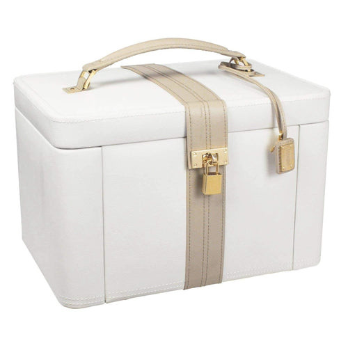 Dulwich Designs Jewellery Box Organiser Cream & Mink Extra Large Genuine Leather