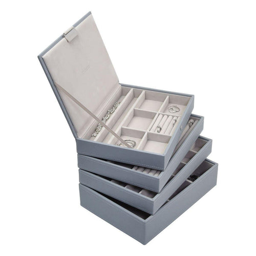 Dusky Blue Classic or Medium Size Stackers Set of 4 Jewellery Box Trays