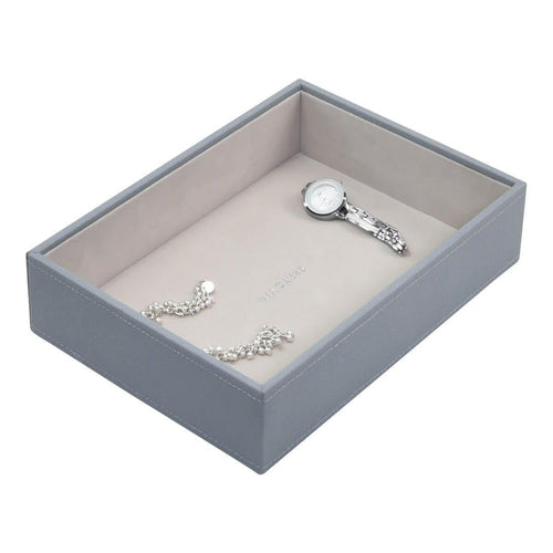 Dusky Blue Classic Size Stackers Jewellery Box Deep compartment tray