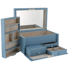 Load image into Gallery viewer, Finest Quality Extra Large Size Wedgewood Blue Bonded Leather Jewellery Box by Aevitas