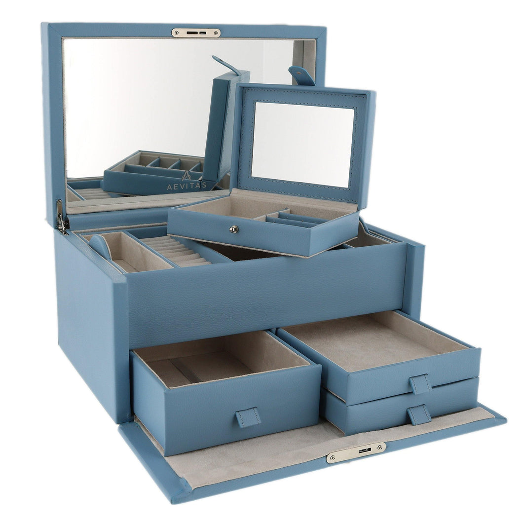 Finest Quality Extra Large Size Wedgewood Blue Bonded Leather Jewellery Box by Aevitas