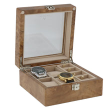 Load image into Gallery viewer, Light Burl Walnut Wood Watch Collectors Box for 4 Watches Plus 8 Pair Cufflinks by Aevitas