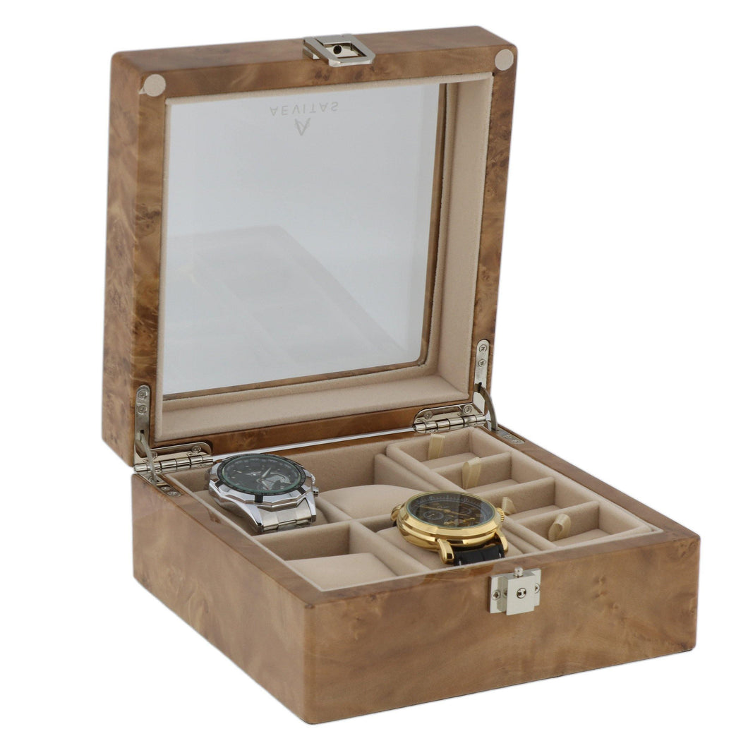 Light Burl Walnut Wood Watch Collectors Box for 4 Watches Plus 8 Pair Cufflinks by Aevitas