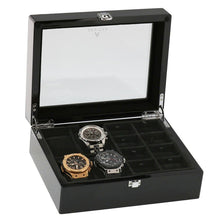 Load image into Gallery viewer, Piano Black Wooden Watch Collectors Box for 4 Watches  and 16 Pair Cufflinks by Aevitas