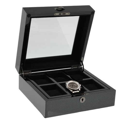 Premium Quality Carbon Fibre Watch Collectors Box for 6 Watches by Aevitas