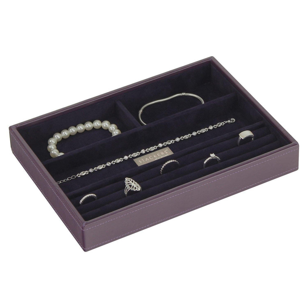 Purple Classic Size Stackers Jewellery Box Tray Rings Section