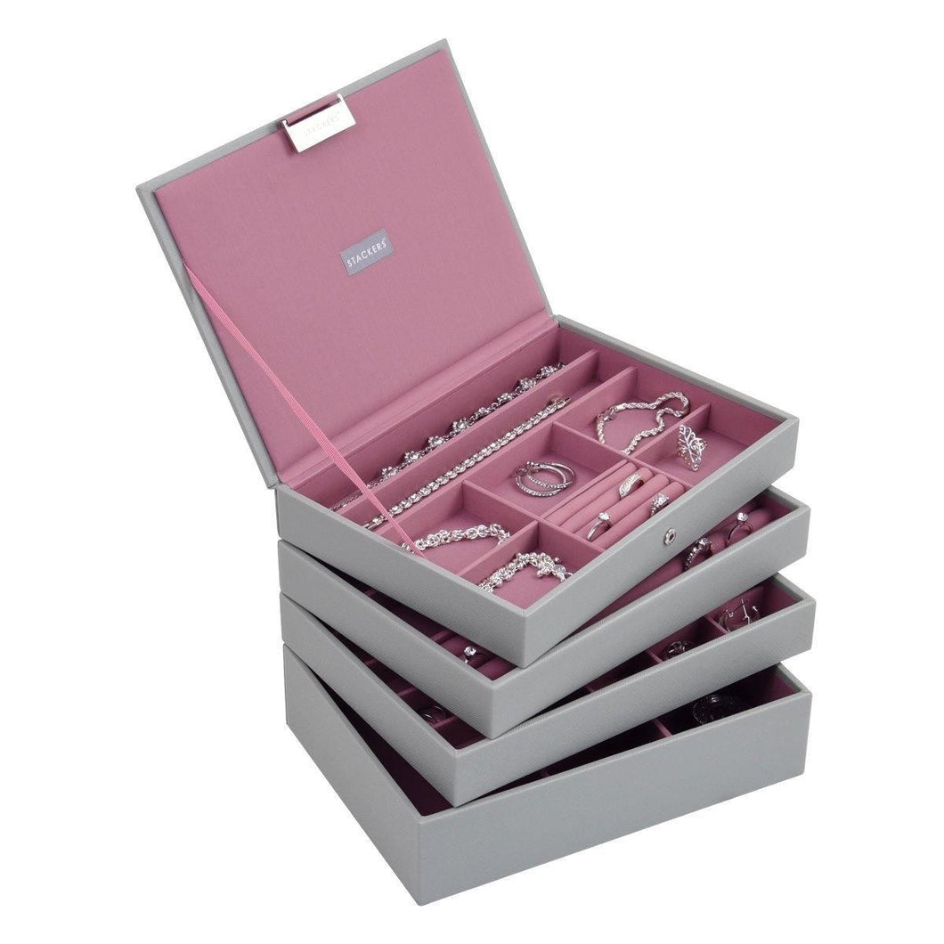 Dove Grey with Antique Pink Classic or Medium Size Stackers Set of 4 Jewellery Box Trays