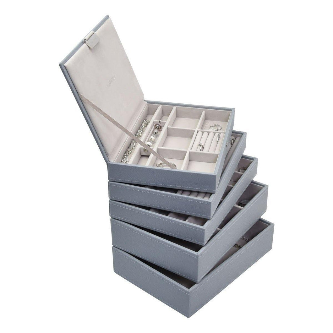 Dusky Blue Classic or Medium Size Stackers Set of 5 Jewellery Box Trays