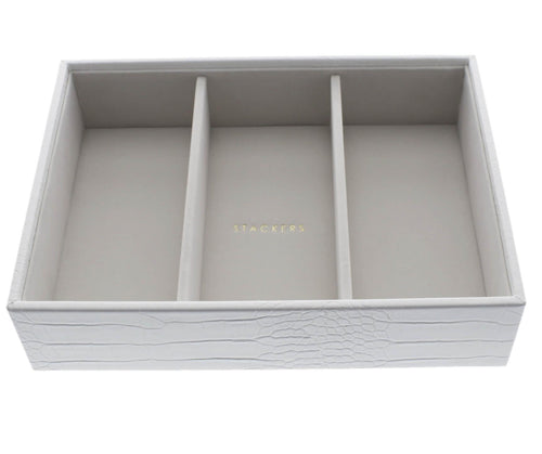White Croc Stackers Jewellery Box 3 Deep Sections