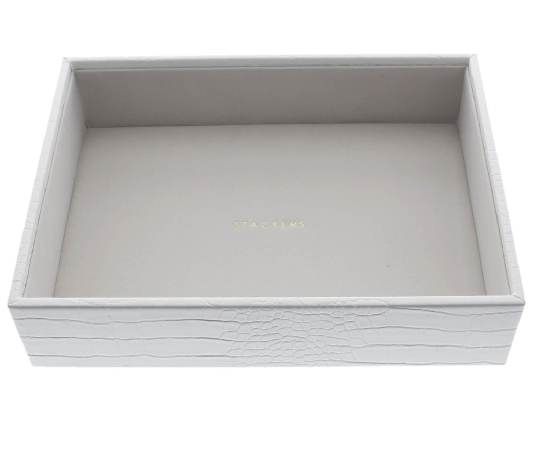 White Croc Classic Size Stackers Jewellery Box Deep compartment tray