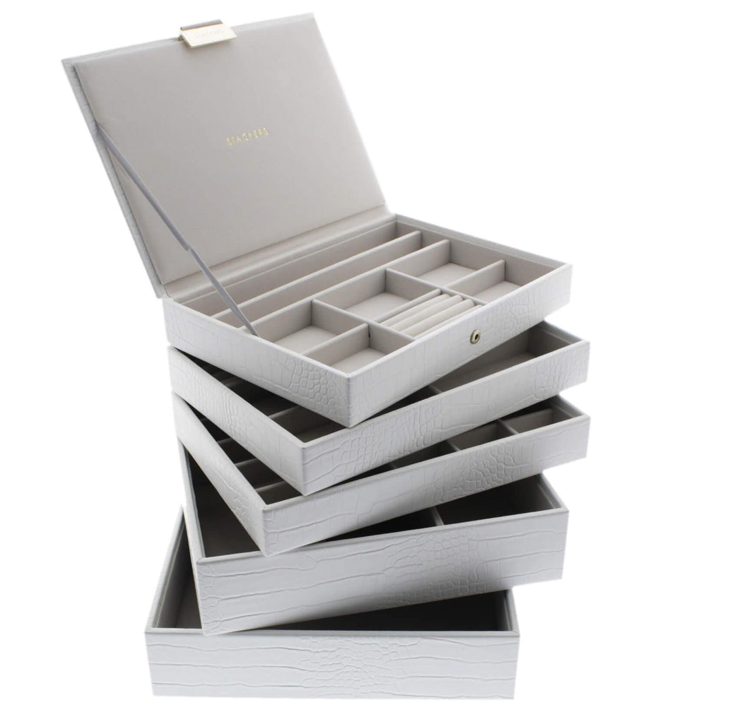 White Croc Classic or Medium Size Stackers Set of 5 Jewellery Box Trays