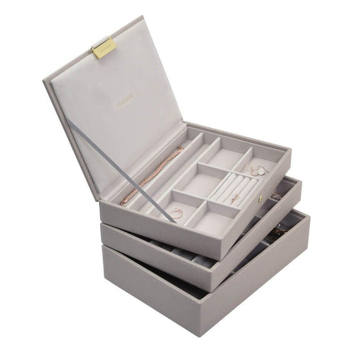 TAUPE CLASSIC OR MEDIUM SIZE STACKERS SET OF 3 JEWELLERY BOX TRAYS