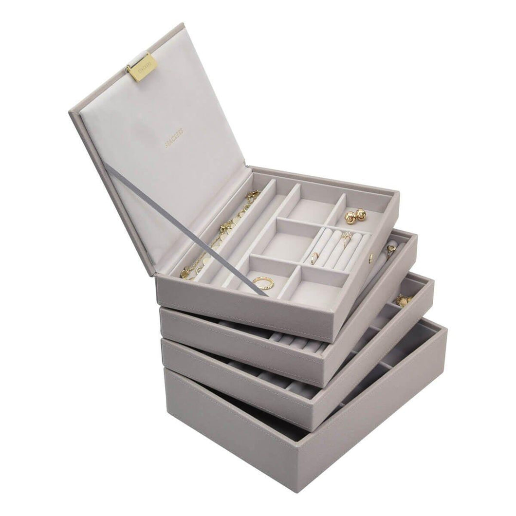 TAUPE CLASSIC OR MEDIUM SIZE STACKERS SET OF 4 JEWELLERY BOX TRAYS