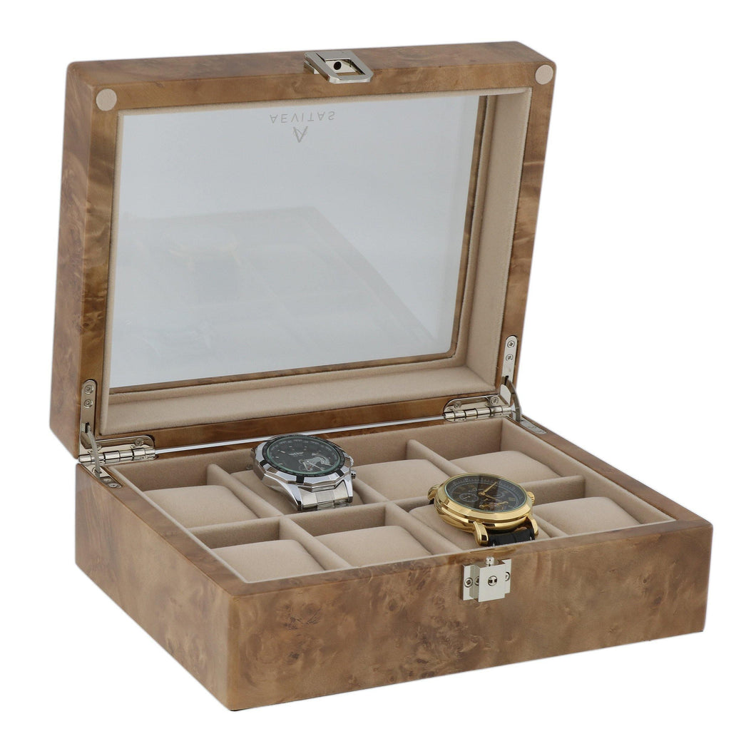 Light Burl Wood Watch Collectors Box for 8 Wrist Watches by Aevitas