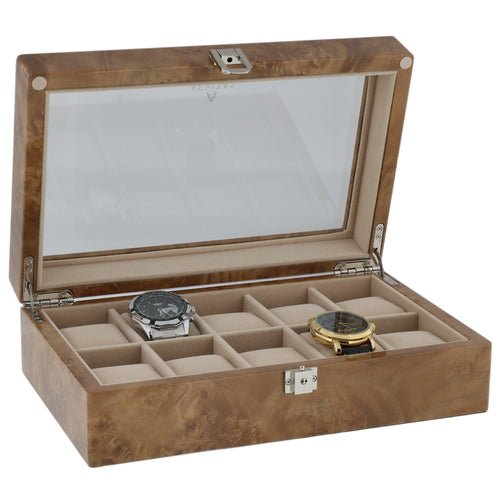 Light Burl Wood Watch Collectors Box for 10 Wrist Watches by Aevitas