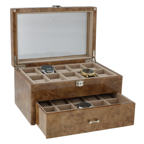 Light Burl Wood Watch Collectors Box for 20 Wrist Watches by Aevitas