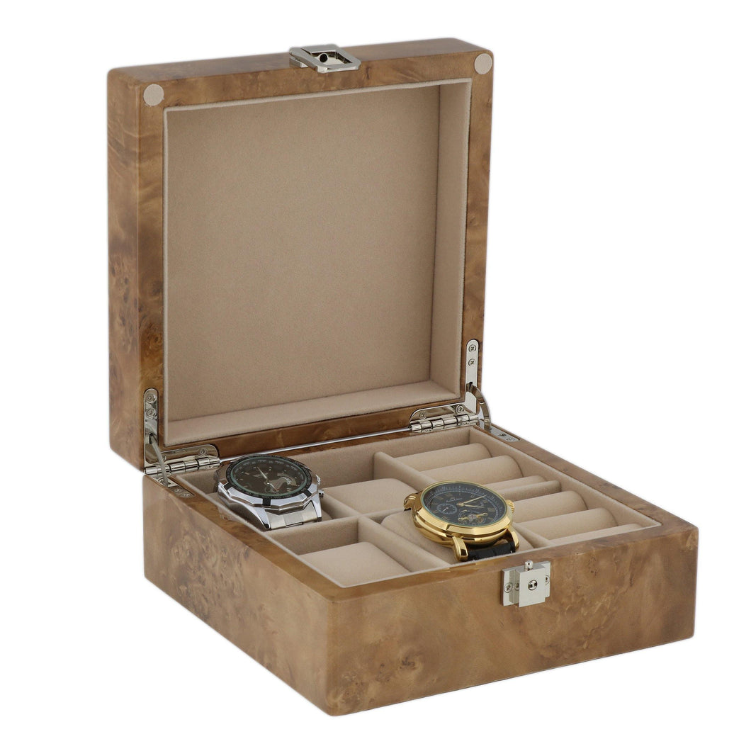 Light Burl Wood Watch and Cufflink Collectors Box 4 Pair Cufflinks + 4 Wrist Watches with Solid Lid by Aevitas
