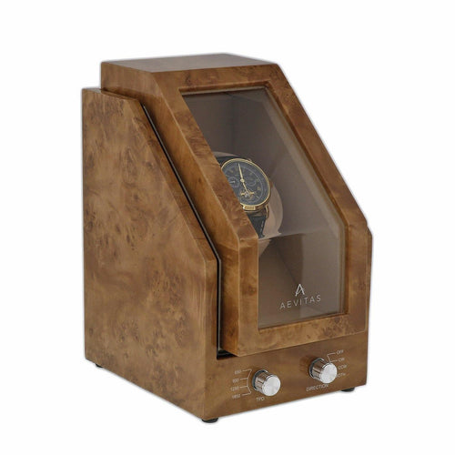 BRAND NEW WATCH WINDER FOR 1 WATCHES LIGHT BURL WOOD FINISH PREMIER RANGE BY AEVITAS