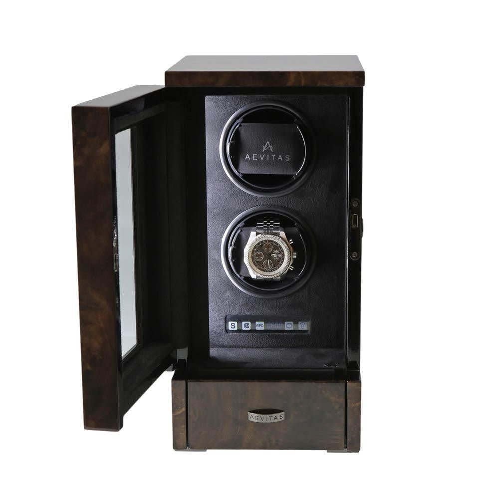 Watch Winder for 2 Automatic Watches Dark Burl Wood Finish the Tower Series by Aevitas