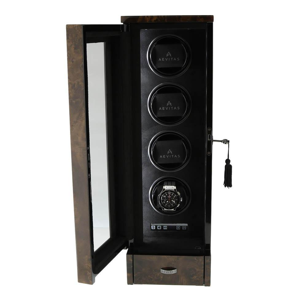 Watch Winder for 4 Automatic Watches Dark Burl Wood Finish the Tower Series by Aevitas