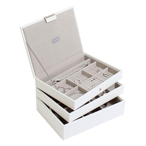 White Premium Classic Size Stackers Jewellery Box Set of 3 Trays