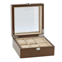 Load image into Gallery viewer, Natural Walnut Watch and Cufflink Collectors Box for 4 Wrist Watches plus 4 Pairs Cufflink by Aevitas