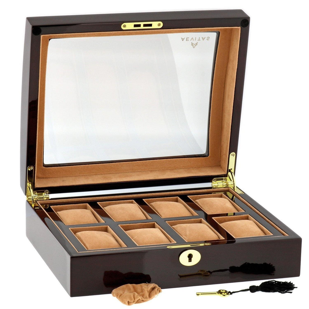 High Quality Watch Collectors Box for 8 Watches with Walnut Veneer High Gloss Finish by Aevitas