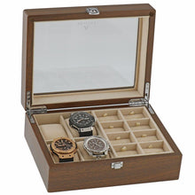 Load image into Gallery viewer, Natural Walnut Watch Collectors Box for 4 Wrist watches and 16 Pairs of Cuffliks by Aevitas