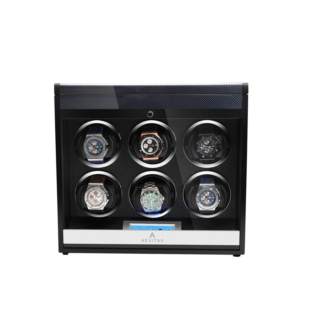 Aevitas Watch Winder for Six Automatic Watches in Carbon Fibre Gifts in Time