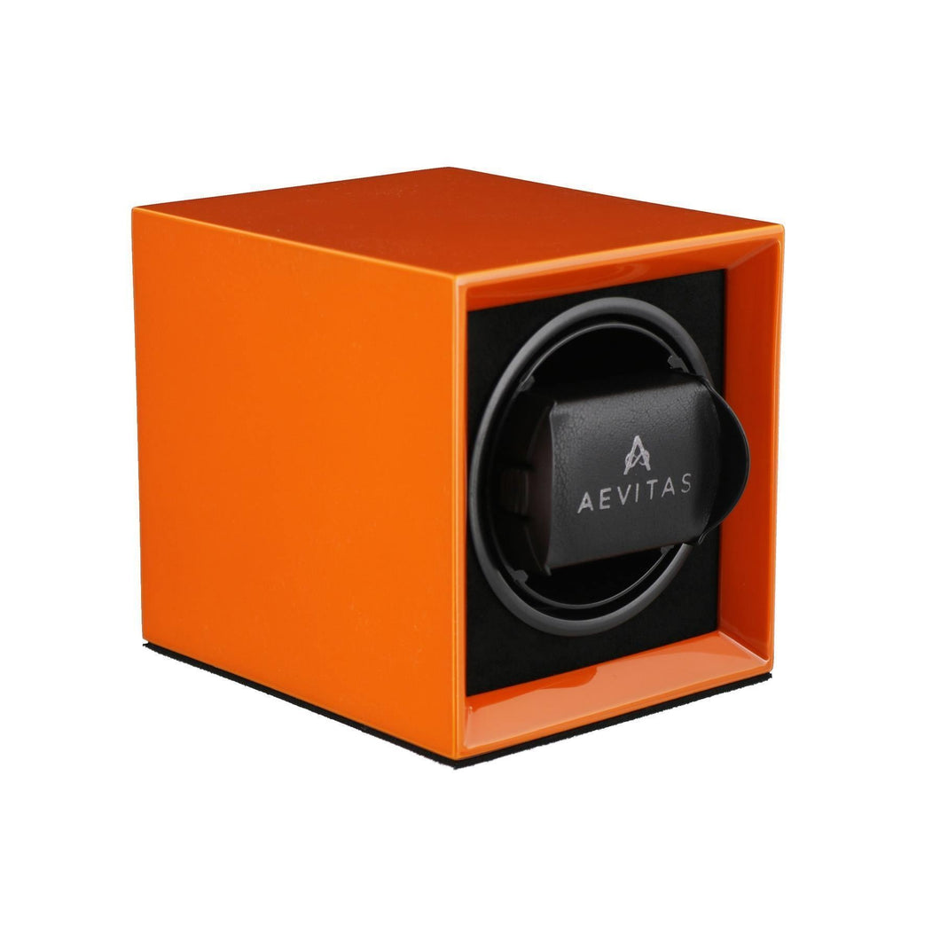 Watch Winder for 1 Automatic Watch in Orange Mains or Battery by Aevitas Gifts in Time
