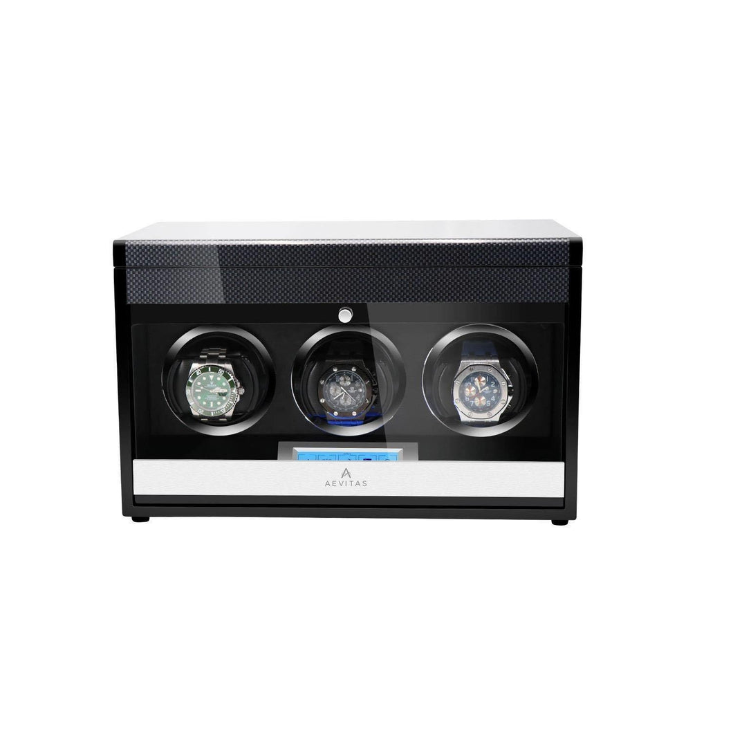 3 Watch Winder in Carbon Fibre Finish by Aevitas Gifts in Time