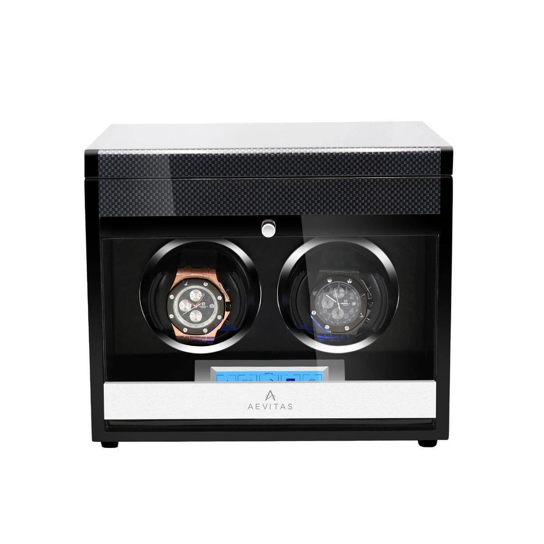 2 Watch Winder in Carbon Fibre Finish by Aevitas Gifts in Time