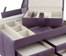 Load image into Gallery viewer, Naples Mauve Leather Jewellery Box XL by Dulwich Designs