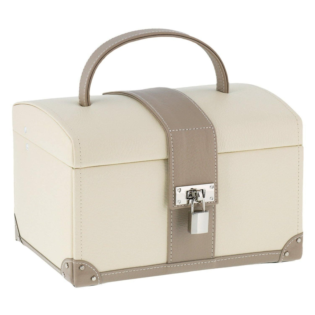 Dulwich Designs Cannes Cream & Tan Leather Jewellery Box