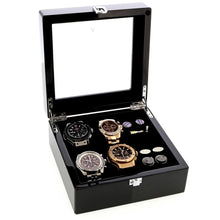 Load image into Gallery viewer, Piano Black Watch and Cufflink Collectors Box for 4 Wrist Watches plus 4 Pairs Cufflink by Aevitas