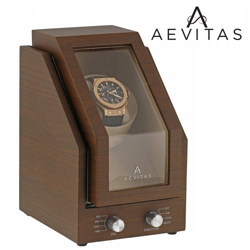 Brand New Watch Winder for 1 Watch Natural Walnut Wood Finish with Beige Velvet interior Premier Range by Aevitas