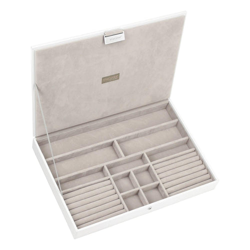 White Premium Super Size Stackers Lidded Tray