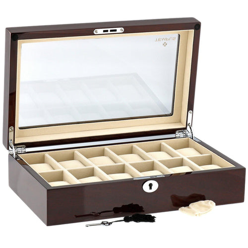 High Quality Watch Collectors Box for 12 Watches with Mahogany Veneer High Gloss Finish by Tempus