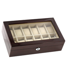 Load image into Gallery viewer, High Quality Watch Collectors Box for 12 Watches with Mahogany Veneer High Gloss Finish by Tempus