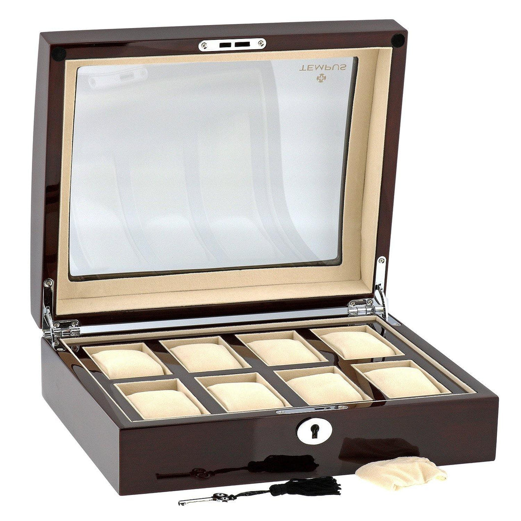 High Quality Watch Collectors Box for 8 Watches with Mahogany Veneer High Gloss Finish by Tempus