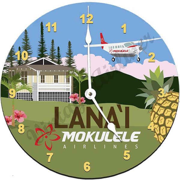 Mokulele Airlines Clock with illustration of Lana'i