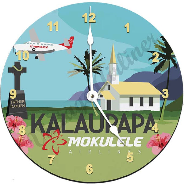 Mokulele Airlines Clock with illustration of Kalaupapa